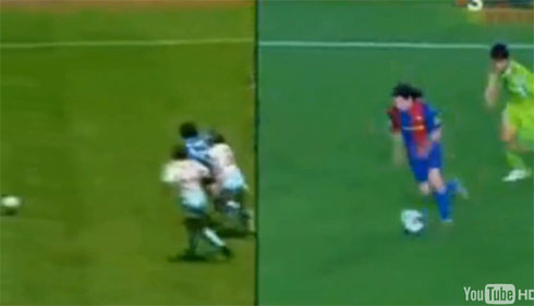 Messi and Maradona side-by-side