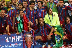 FC Barcelona celebrate winning the Champions League.