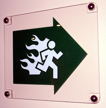 Emergency fire sign.