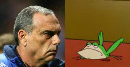 Avram Grant really looks like Michigan J. Frog.