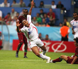 Thierry Henry goes to ground in the World Cup.