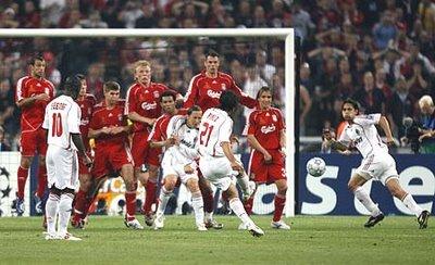 Pirlo takes a free kick.