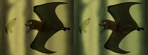 A bat chasing a butterfly.