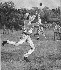 A long-ago etching of a young man playing cricket.