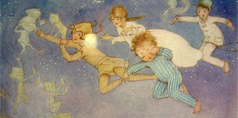 Peter Pan flying with the children.