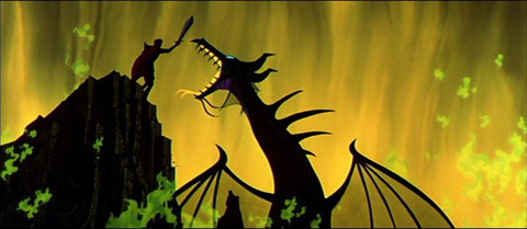 A prince fighting a dragon.