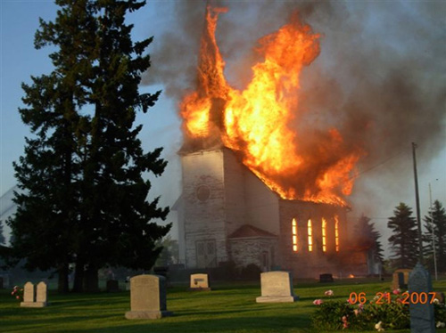 A church on fire.