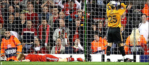 John Arne Riise, supine in defeat.