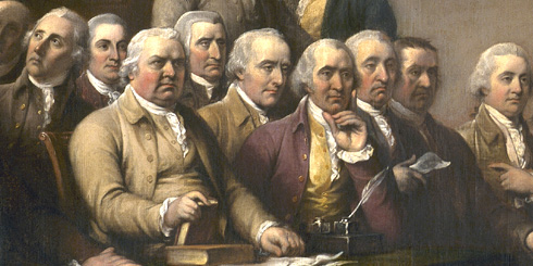 Signers of the Declaration of Independence look on in wonder.