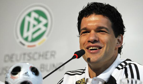 Michael Ballack speaks at a press conference.