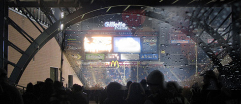 Rainy night at Gillette Stadium