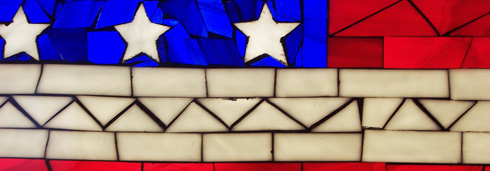 The American flag, executed in stained glass