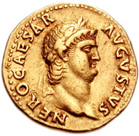 Nero, the famous violinist, on a gold coin