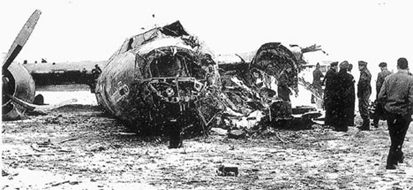 The wreckage of British European Airways Flight 609