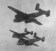 WWII bombers in formation