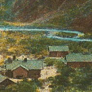 A postcard of the Phantom Ranch at the Grand Canyon
