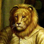 Painting of a gentleman with the head of a lion