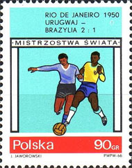 Polish stamp commemorating Uruguay's win