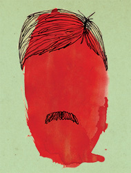 A man, a moustache, a pool of blood
